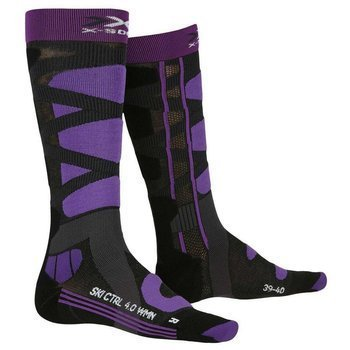 Ski socks X-SOCKS SKI CONTROL 4.0 WOMEN CHARCOAL MELANGE/PURPLE - 2020/21